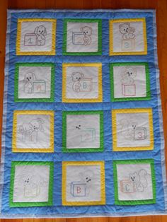 ABC/123 Handmade Baby Boy Quilt by CraftingByTheWayside on Etsy