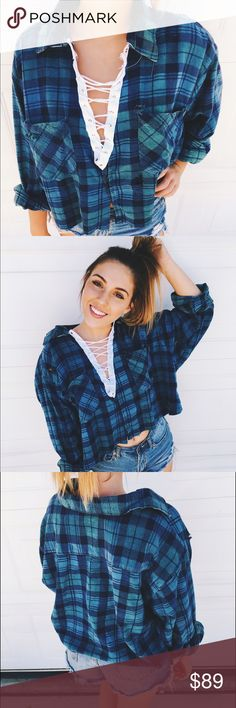 LF inspired lace up flannel! Handmade! Super cute lace up distressed crop flannel Tops Button Down Shirts