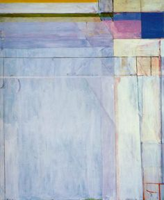 Richard Diebenkorn: The Ocean Park Series    Meant to be simply abstractions.  Who inspired this and shaped this?  claims Monet, Matisse, Mondrian, to be major influences...   scumbling on surface.