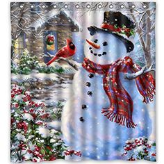 Charming Charm 66X72 inches Inches Winter Holiday Merry Christmas Happy Snowman and Cardinals Shower Curtain New Waterproof Polyester Fabric Bath Curtain  Shower Rings Included  ** For more information, visit image link.