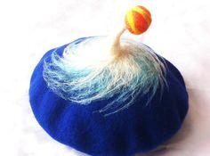 Felted Beret, wool felt hat,felted art, red felt french beret-Cyclone by MushroomDream, $69.00