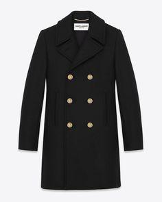 Saint Laurentclassic Babydoll Caban Coat In Black Wool