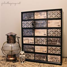 {Filthy to Fancy} Organizer Makeover.  A dirty hardware organizer gets a fancy French makeover.  girlinthegarage.net