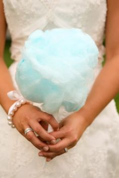 Cotton candy wedding bouquet...great if you get a little hungry during the ceremony!