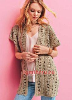 Crochet Cardigan, Long Cardigan, Crochet Clothes, Kimono Top, Crochet Patterns, Short Sleeve Dresses, Pullover, Boho, Knitting