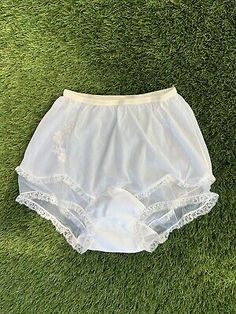 """<p>Vintage 1960s ROGERS Floral Double Nylon Gusset Mushroom Granny Panties Briefs. Shipped with USPS First Class Package.</p><br><p>Fabulous vintage from the 60s Rogers Nylon tricot mushroom brief granny panties.  Double nylon gusset.  Trimmed in lace with floral embroideries.  Has a 14"""" rise.  Mint condition!</p> Matching Bra And Panty, Bra And Panty Sets, Vintage Underwear, Vintage Lingerie, Granny Panties, Plastic Pants, Lingerie Drawer, Floral Print Shirt, Girls Be Like"""