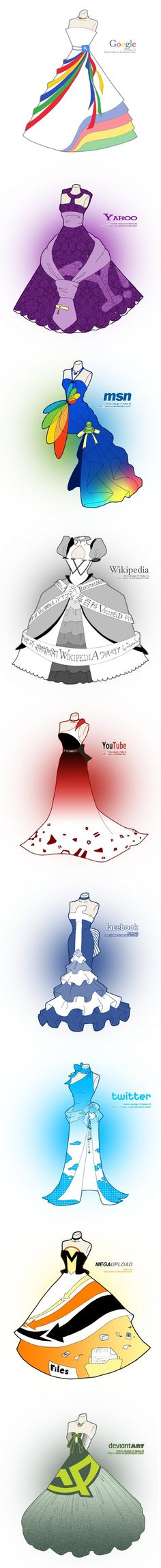 #websites meet #fashion? Popular websites re-imagined as dresses. :) (see the artists gallery for more sites, including Pinterest: http://neko-vi.deviantart.com/gallery/36793491)