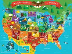 Map of the United States of America, Map, vector, monuments, United States, and Animals