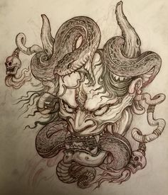Hanya Mask and Snake tattoo design by Dragon Tattoo Sketch, Dragon Tattoo Back Piece, Dragon Sleeve Tattoos, Tattoo Sketches, Sailor Jerry Flash, Monami Frost, Japanese Snake Tattoo, Japanese Dragon Tattoos, Sailor Jerry Tattoos