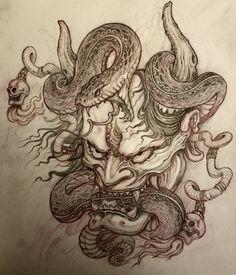Hanya Mask and Snake tattoo design by Japan Tattoo Design, Japanese Tattoo Designs, Tattoo Design Drawings, Tattoo Sketches, Hannya Maske Tattoo, Oni Tattoo, Hanya Tattoo, Dragon Tattoo Sketch, Dragon Tattoo Back Piece