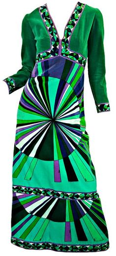 Dress by Emilio Pucci - Printed cotton velveteen dress- I like the bold… 60s And 70s Fashion, Mod Fashion, Vintage Fashion, 1970s Dresses, Vintage Dresses, Vintage Outfits, Style Retro, My Style, Mode Costume