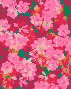 Azalea Art Print by Allison Holdridge / pink floral pattern Textile Patterns, Textile Prints, Print Patterns, Floral Prints, Art Prints, Floral Patterns, Textile Design, Surface Pattern Design, Pattern Art