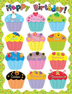 Creative Teaching Press Poppin' Patterns Happy Birthday Poster Chart by manufacturer): Celebrate birthdays throughout the year! Use to decorate bulletin boards, hallways, doors, and common areas! Birthday Chart Classroom, Birthday Bulletin Boards, Birthday Charts, Preschool Birthday Board, Birthday Calender, Birthday Wall, Birthday Display In Classroom, Free Birthday, Birthday List