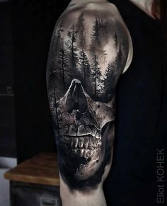 Sublime piece done on guy& shoulder and upper arm, with a realism skull and. - Sublime piece done on guy& shoulder and upper arm, with a realism skull and a dark, scary loo - Creepy Tattoos, Badass Tattoos, Up Tattoos, Body Art Tattoos, Tattoos For Guys, Amazing Tattoos, Tatoos, Unique Tattoos For Men, Biker Tattoos