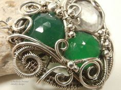 Wire Wrapped Pendant Necklace, Sterling Silver Wire Weaved Green Onxy, Clear Crystal Briolette Gemstones Handmade Jewelry, Perfectly Twisted