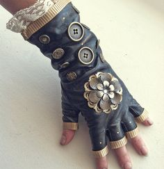 steampunk leather gloves - Google Search