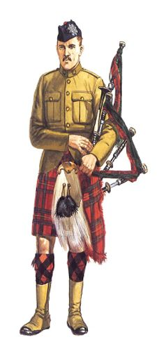 Gaitero, 13º CEF, Batallón Royal Highlanders de Canada, 1914-1915.