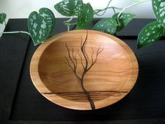 Wooden Bowl - Rising Tree, Pyrography Design, Modern, Woodburned, Beech Wood, Made to Order on Etsy, $44.00