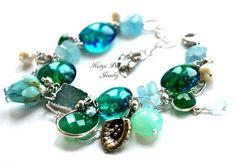 """Браслет """"Незабываемое лето"""" 2 - голубой зеленый,katya design,эксклюзивные украшения"""