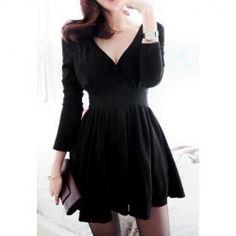$12.06 Vintage V-Neck Long Sleeve Women's Black Pleated Dress
