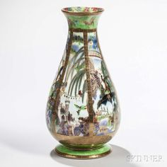 Wedgwood Fairyland Lustre Pillar Vase, England, c. 1925. | Lot 90 | Auction 2975B | Sold for $5,843 European Furniture, Fairy Land, Wedgwood, Art Decor, Home Decor, Luster, Art For Sale, Auction, Vase