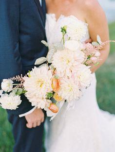 Cascading dahlia bouquet: http://www.stylemepretty.com/virginia-weddings/rivanna-virginia/2015/10/12/romantic-keswick-vineyards-wedding/   Photography: Adam Barnes - http://www.adambarnes.com/