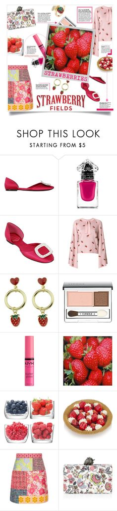 """""""Strawberry Field"""" by elisabetta-negro ❤ liked on Polyvore featuring Roger Vivier, Guerlain, VIVETTA, WithChic, Clinique, NYX, Polaroid, LSA International, Boutique Moschino and Edie Parker"""