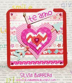 Scrap and life Tarjeta corazones Hechas por Silvia Barrera