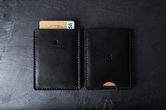 Cocones - Minimal Card Wallet to cover your card carry needs. Premium leather and 100%Merino wool felt, Black
