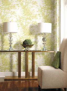 Tree Silhouettes Wallpaper. Find this pattern at AmericanBlinds.com. #green #forest #natural #lime