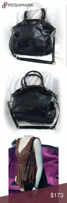 COACH Large Shoulder Bag Condition - Excellent.  Owner made one alteration, stitching a keyring to the inside to attach her keys to. There are no other defects.  Width - 3 Length - 16 Height - 13 Handle Drop (handbag) - 7 Handle Drop (shoulder bag) - 15 Coach Bags Shoulder Bags
