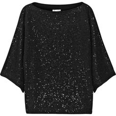Oscar de la Renta Sequined cotton-blend sweater (39,565 THB) ❤ liked on Polyvore featuring tops, sweaters, black, sequin top, loose fit tops, black boxy top, loose black sweater and black top