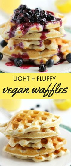 Easy and delicious light and fluffy vegan waffles. Perfect for the weekend! #vegan paleo breakfast waffles