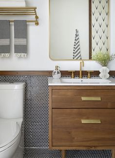 Warm and neutral bathroom design with dark penny tile and walnut bathroom vanity. Bathroom Renos, Bathroom Wall, Bathroom Interior, Bathroom Green, Washroom, Master Bathroom, Warm Bathroom, Bathroom Canvas, Neutral Bathroom