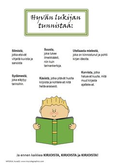 This product is in Finnish. Four posters: - a good friend - a good listener - a good reader - a good writer This work by Maria Pernu is licensed under a Creative Commons Attribution-NonCommercial-NoDerivatives International License. Learn Finnish, Teaching Reading, Learning, Finnish Language, Good Readers, Good Listener, Reading Comprehension, Literacy, Poems