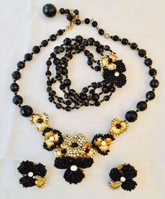 Vintage Signed Miriam Haskell Black Art Glass Necklace, Earrings, Bracelet