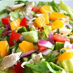 This salad recipe from Priscilla Gilbert of Indian Harbour Beach, Florida is perfect for a summer luncheon and a great way to use up leftover chicken and fresh mint from your garden. 'It also tastes just as good made with nectarines,' notes Priscilla. Healthy Foods To Eat, Healthy Eating, Healthy Recipes, Peach Chicken, My Favorite Food, Favorite Recipes, Mint Salad, Fruit Salad, Mint Recipes