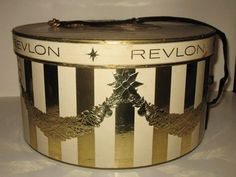 Vintage Revlon Hat Box Display Case from fallsavenue Vintage Hat Boxes, Vintage Suitcases, Makeup Salon, Vintage Makeup, Love Hat, Hat Pins, Girls Dream, Display Case, Perfume