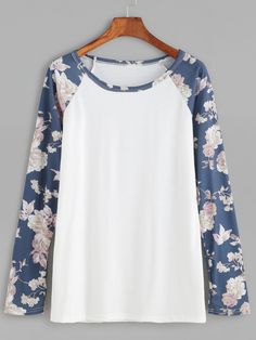 9$  Watch now - http://dixdt.justgood.pw/go.php?t=11739 - Contrast Florals Raglan Sleeve T-shirt 9$