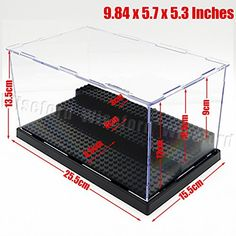 Acrylic Display 3 Steps Case/Box (9.84x5.7x5.3 Inches) Perspex Dustproof ShowCase Black Base For LEGO Minifigures Brick Building Block 30x17 Grid Plates Acrylic Display Box