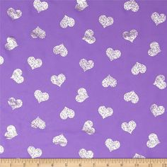 Sparkle Crepe Chiffon Hearts Purple from @fabricdotcom  This sheer chiffon fabric has great drape and is perfect for blouses, dresses and even decorating for special occasions. It features a metallic silver foil print throughout.