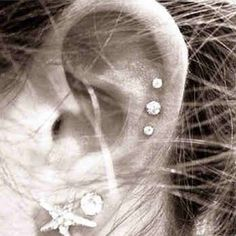 triple cartilage piercing this is pretty but mama wont even let me get ONE…