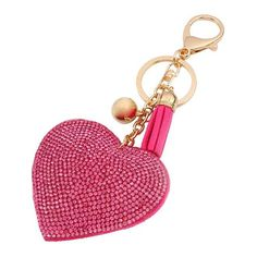 Key Chain Love Heart Pendant Leather Rhinestone Key Finder Keyring Gift Four Colors