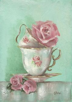 *Two Cup Rose Painting* ~ by Chris Hobel (Australian) ✿