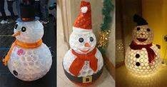 Afbeeldingsresultaat voor sneeuwpop maken van plastic bekers