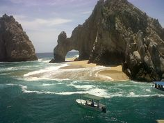 a temporary beach formed under El Arco in Cabo San Lucas, Mexico.  Is it still there? | #mexico #travelocity #vacations #amazing #travel #cabo