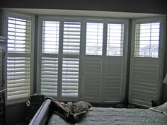 Shutters with hidden tilt bar House Windows, Windows And Doors, Bow Window Treatments, Concrete Counter, Bay Window, New Kitchen, Shutters, Curtains