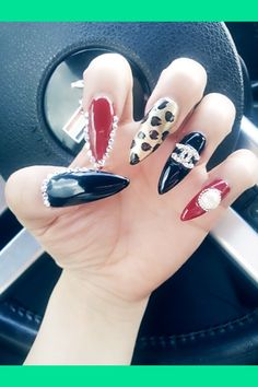 Channel leopard diamods nails