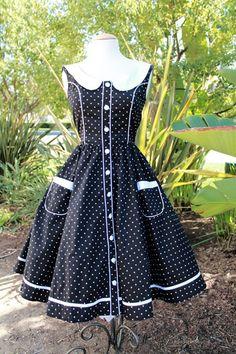 Hell Bunny Alaia Black Polka Dot Dress
