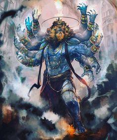 Narasimha is the avatar of the Hindu god Vishnu, half man and half lion, dharma edition myths and legends Mahakal Shiva, Shiva Art, Krishna Art, Hindu Art, Lord Shiva Hd Wallpaper, Lord Hanuman Wallpapers, Hanuman Hd Wallpaper, Angry Lord Shiva, Rudra Shiva